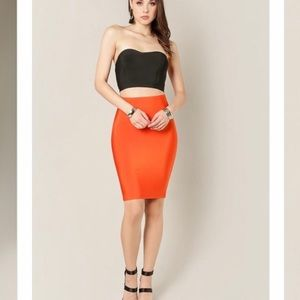Wow Couture | Tangerine pencil bandage skirt